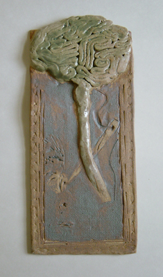 Ceramic slab with coil brain relief