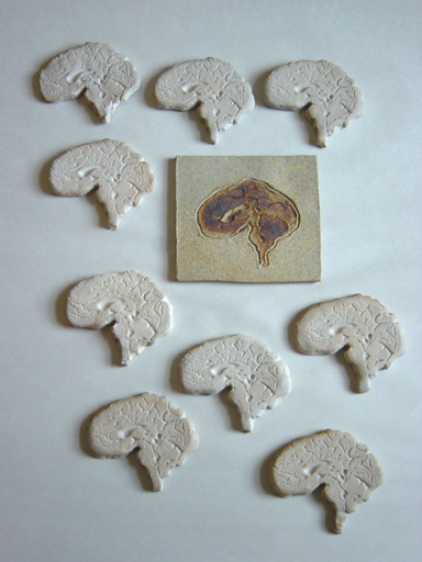 Press molded ceramic brains with slab drawn tile