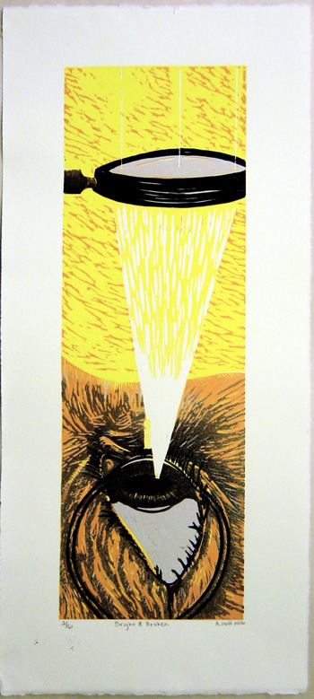 reduction linocut of eye and magnifying glass