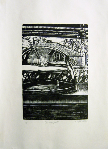 black and white woodcut