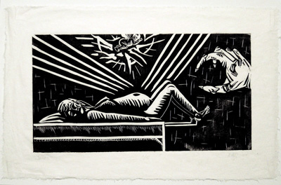 black and white linocut of snatched baby
